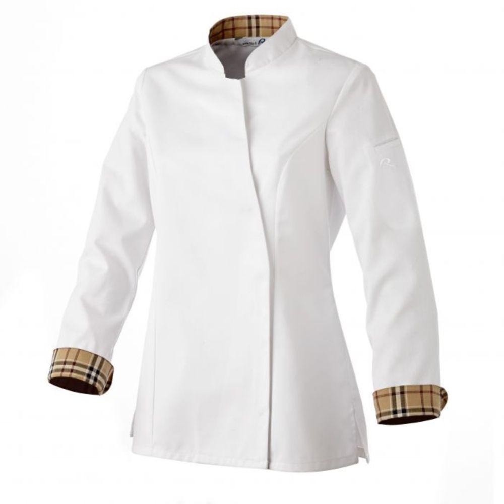 Veste de cuisine manches longues femme Robur USTI - Blanc / Marron