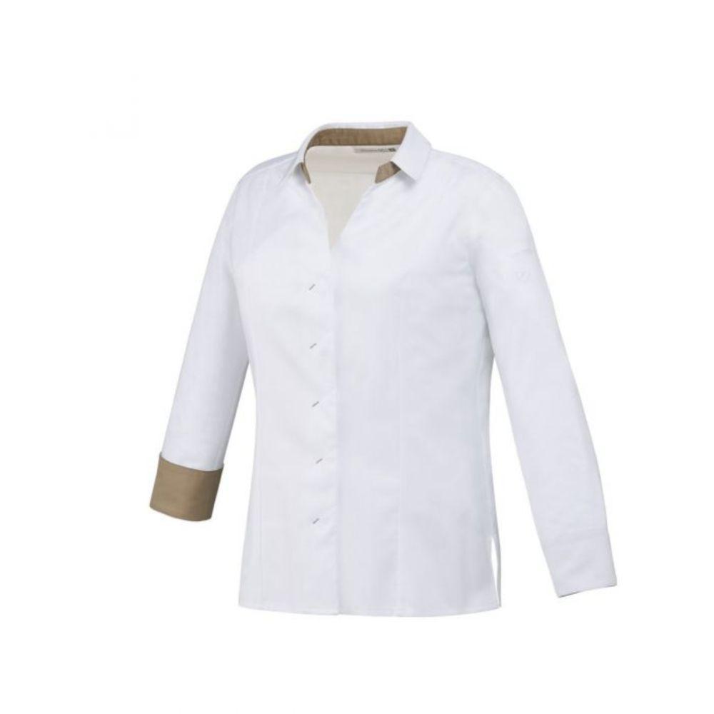 Veste de cuisine respirante manches longues femme Robur VIGA - Blanc / Marron