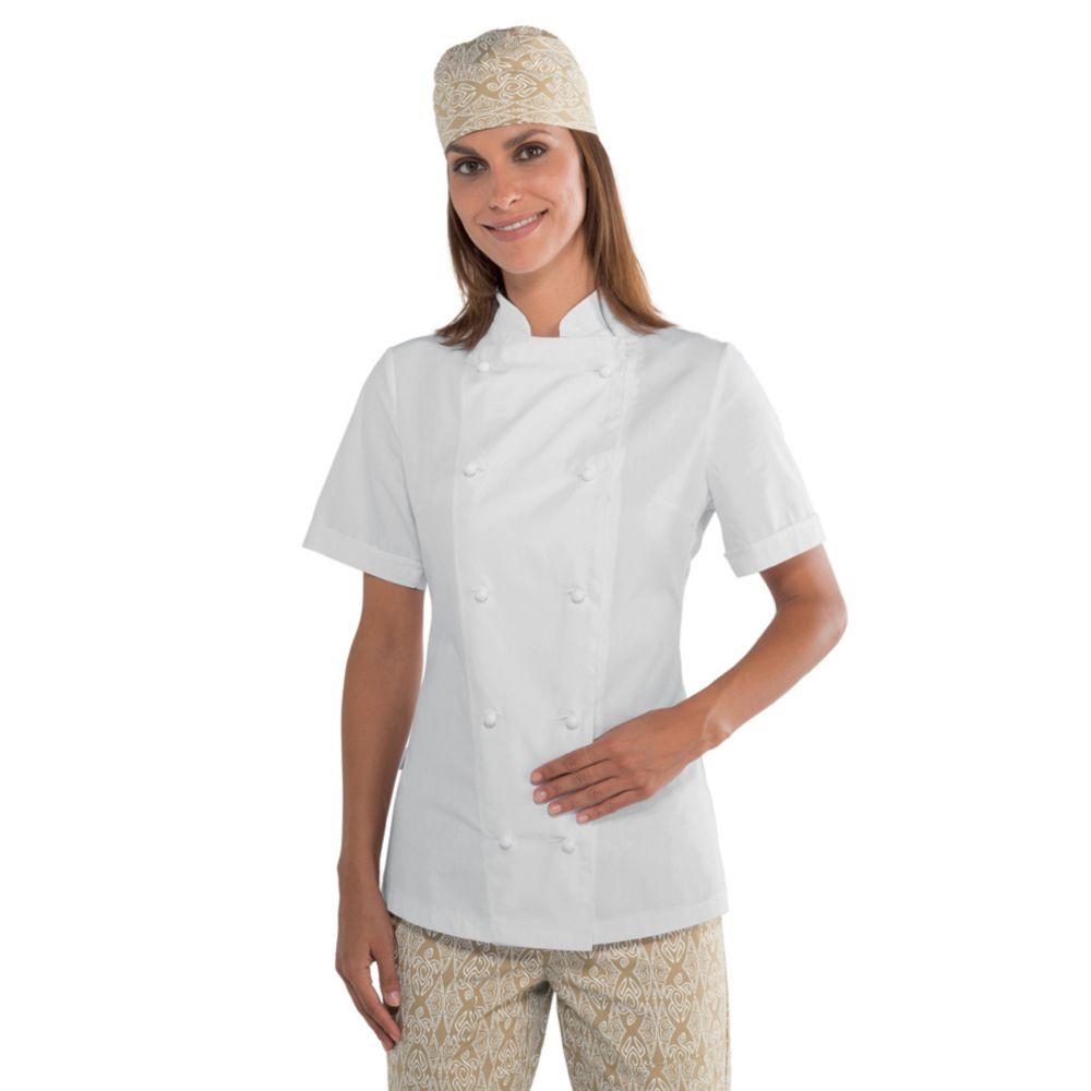 Veste de cuisine femme ultra légère blanche Isacco Lady Extra Light - Blanc