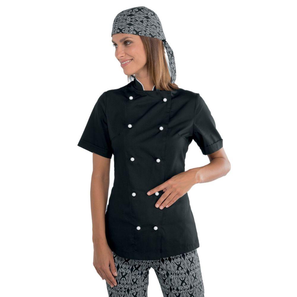 Veste de cuisine femme ultra légère Isacco Lady Extra Light Noire Boutons Blancs - Noir / Blanc