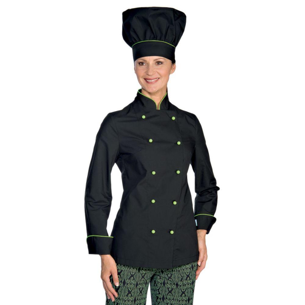 Veste de cuisine femme Ultra Légère Isacco Noir vert  Extra Light - Noir / Vert