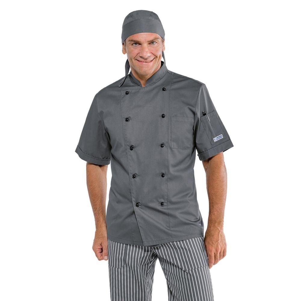 Veste de cuisine grise Isacco Cuoco manches courtes - Gris / Noir