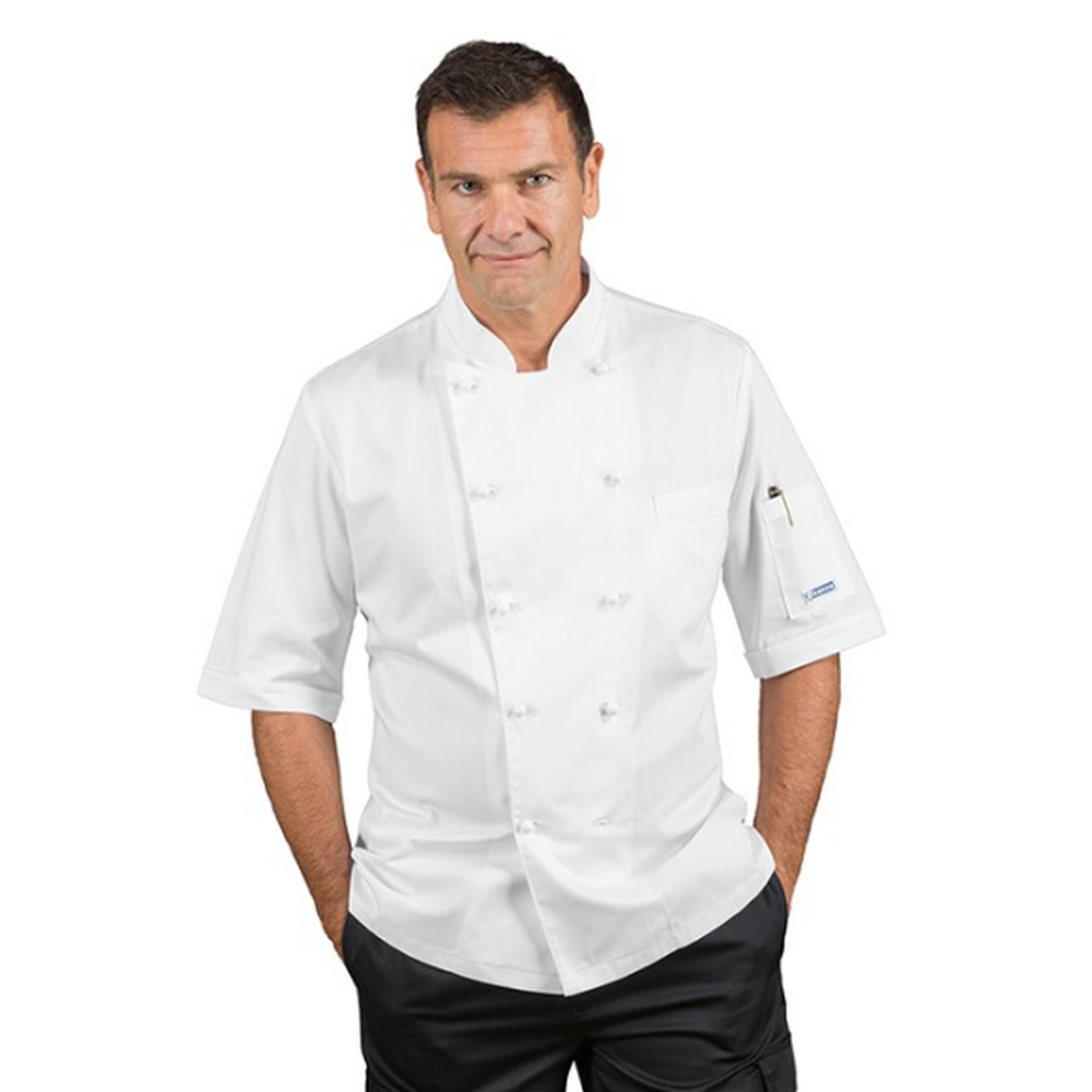 Veste de cuisine homme manches courtes isacco alabama - Veste cuisine homme personnalise ...