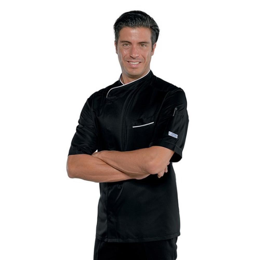 Veste de cuisine homme manches courtes Isacco Bilbao noir liseré blanc - Noir