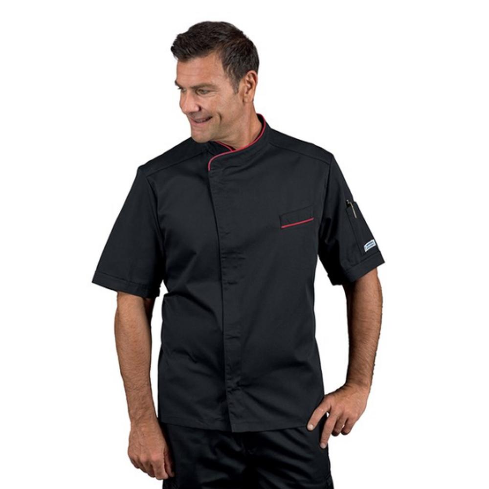 Veste de cuisine homme manches courtes Isacco Bilbao noir liseré rouge - Noir