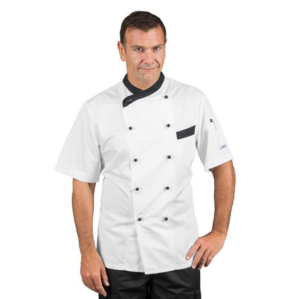 Veste de cuisine respirante homme manches courtes Isacco Giza blanc motif noir - Blanc/noir