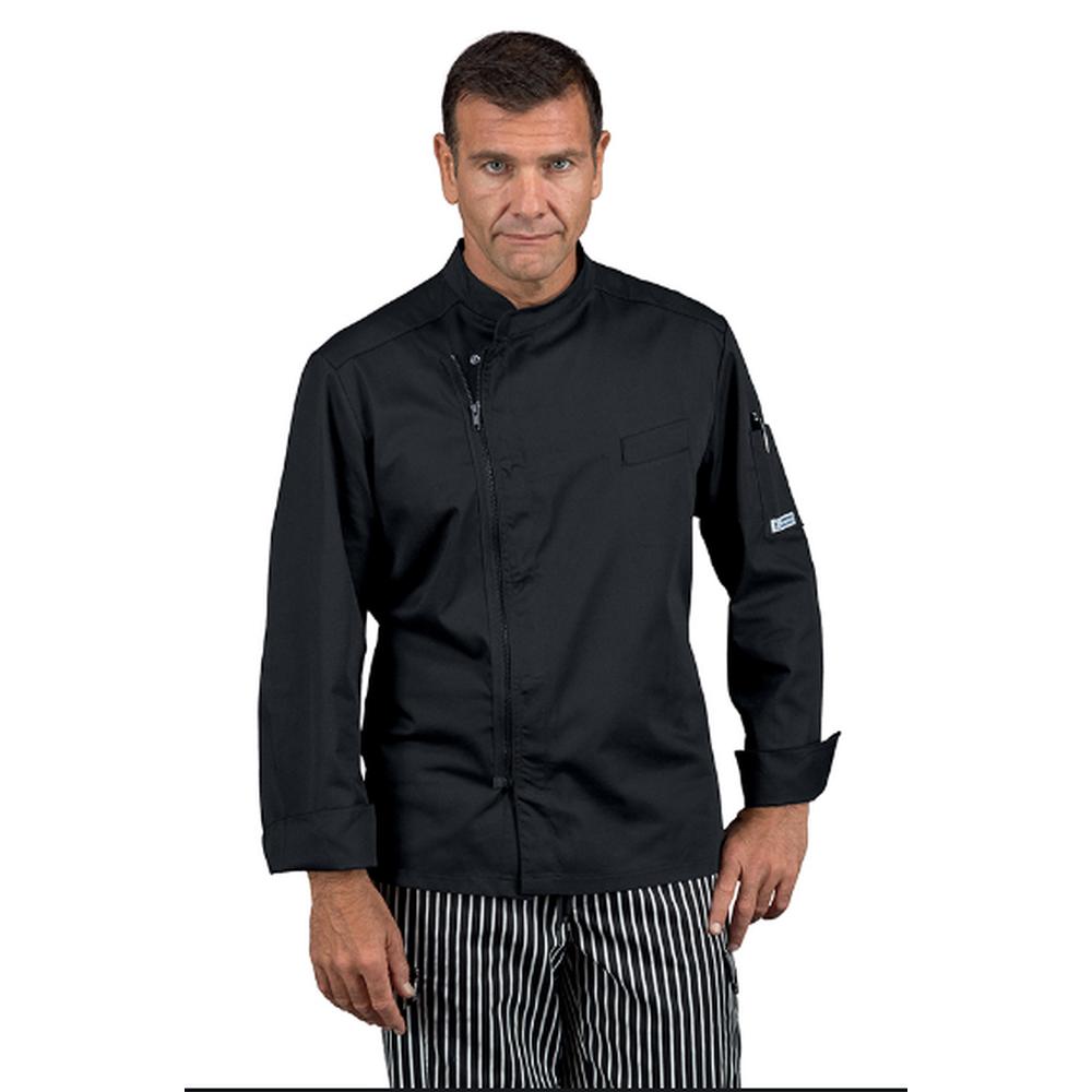 Veste de cuisine zippée homme manches longues Isacco Bilbao noire - Noir