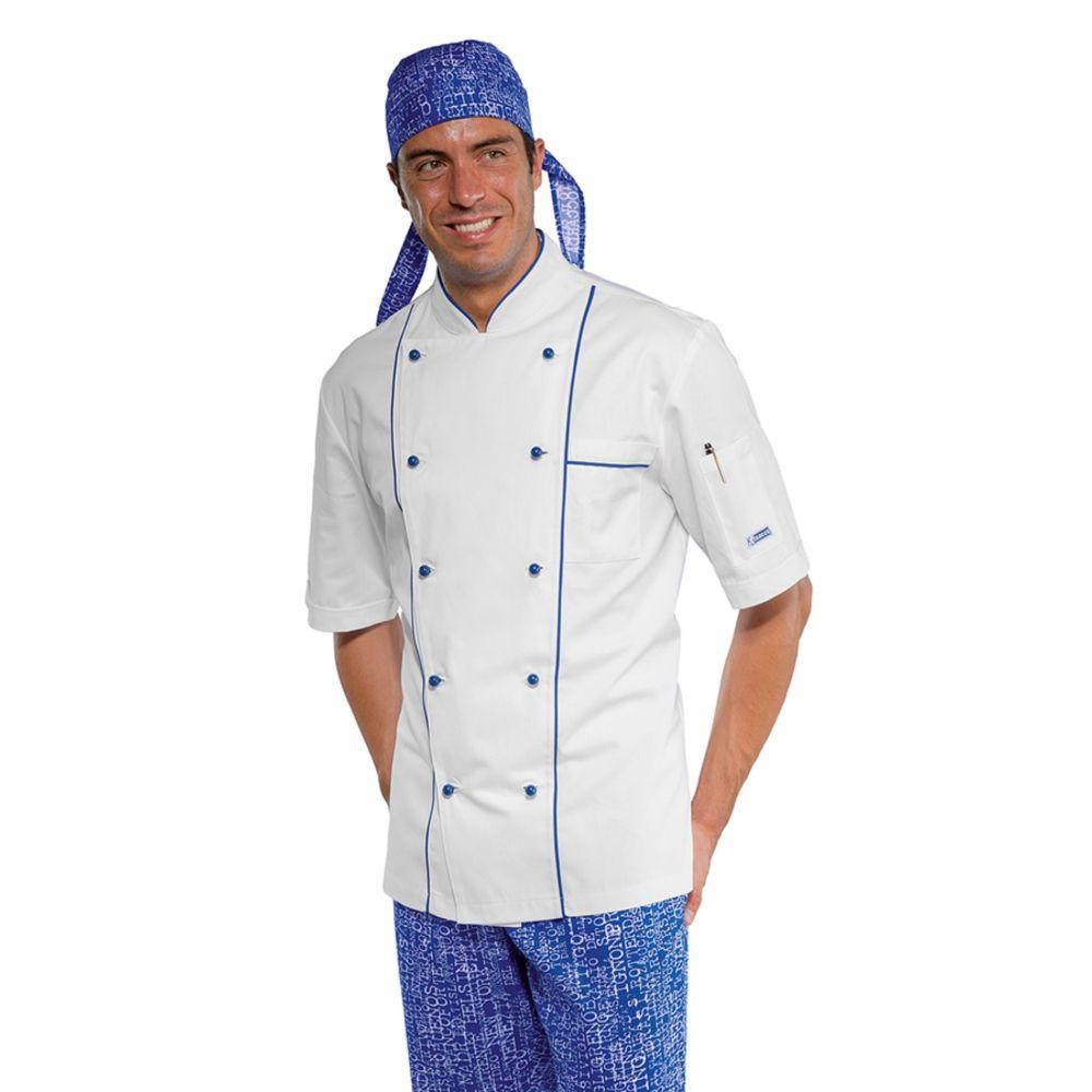 Veste de cuisine Isacco Bluechef 100% coton bleu et blanche - Blanc