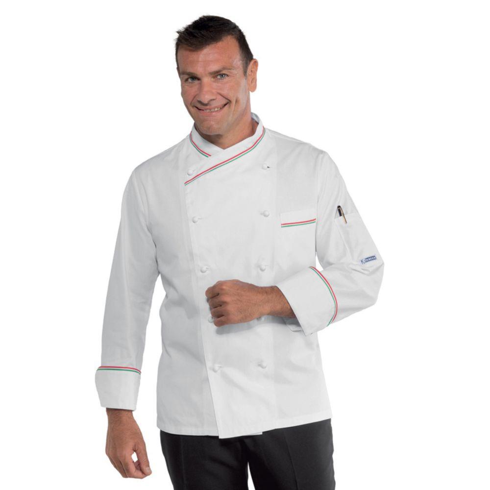 Veste de cuisine Isacco Panama Slim liseré Italien - Blanc