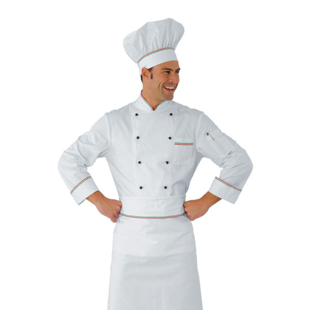 Veste de cuisine Italienne blanche Isacco Prestige 100% coton motif Italy - Blanc / Motif Italien