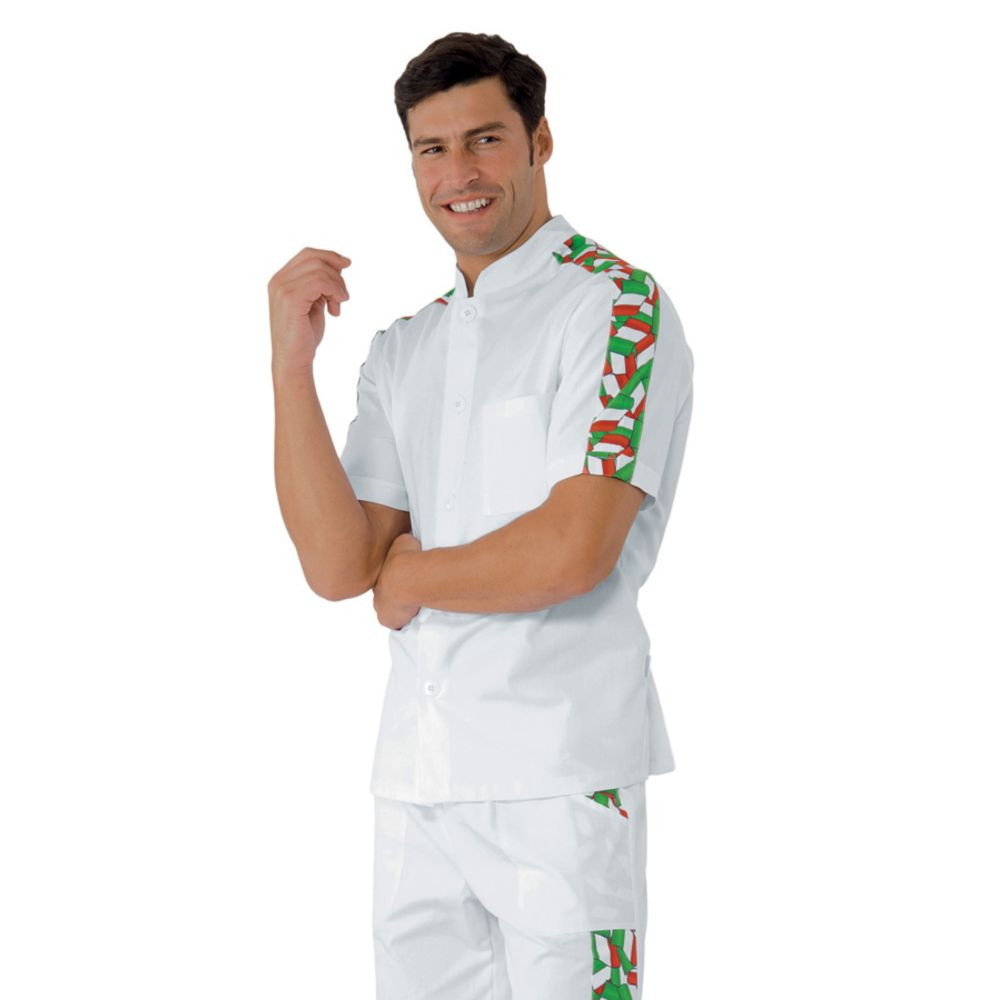Veste de cuisine Italienne Isacco Lavoro Drapeau Italie - Blanc / Drapeau Italie