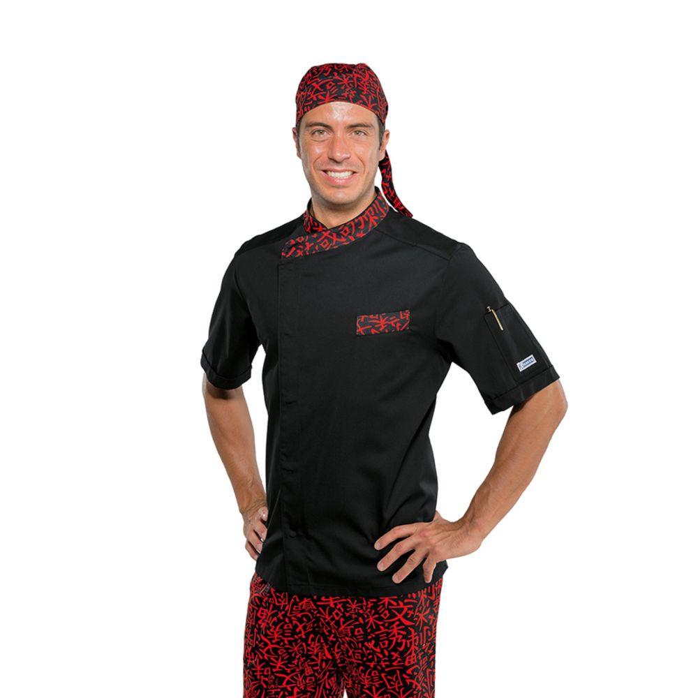 Veste de cuisine Japonaise manches courtes noir rouge Isacco Durango - Noir / Rouge