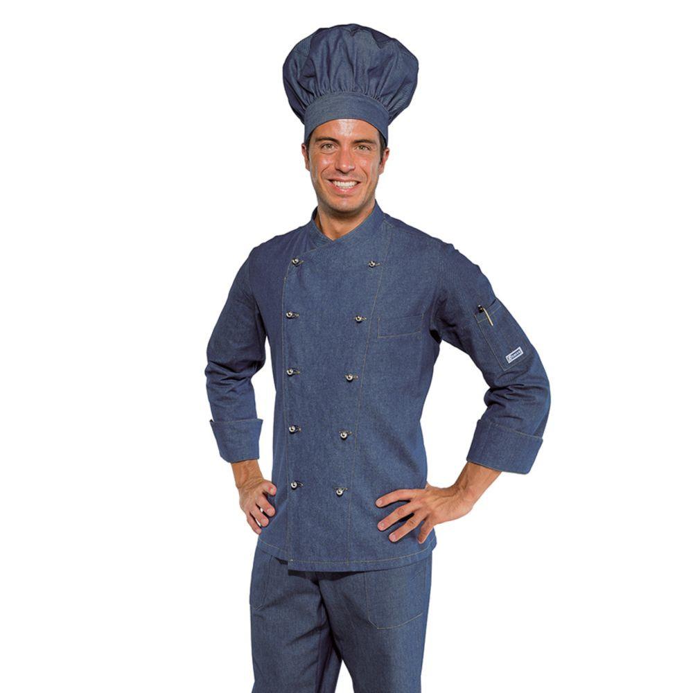Veste de cuisine Jean Isacco Panama Slim - Bleu Jean