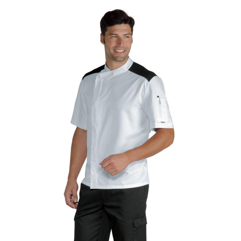 Veste de cuisine manches courtes Blanche épaules noires Malaga Isacco Extra Light - Blanc Epaules Noires