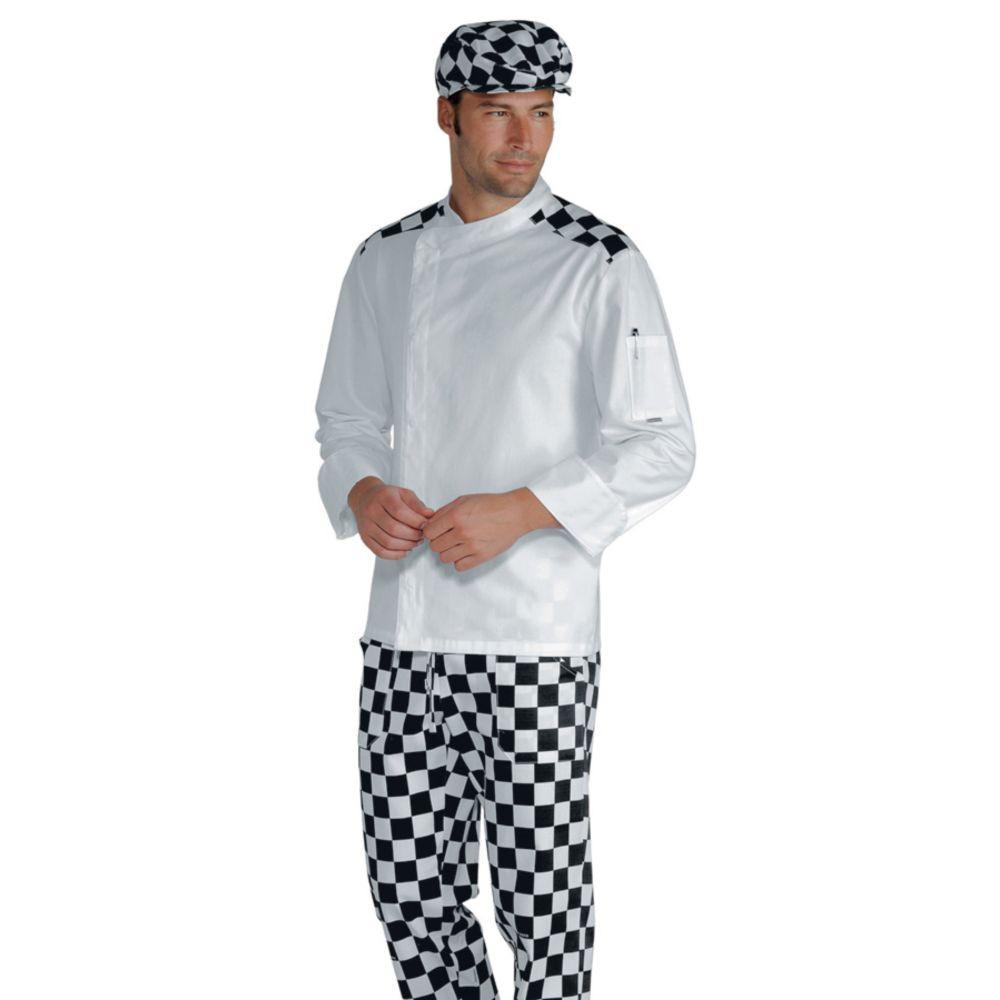 Veste de cuisine manches longues blanche à damier Isacco Malaga - Damier