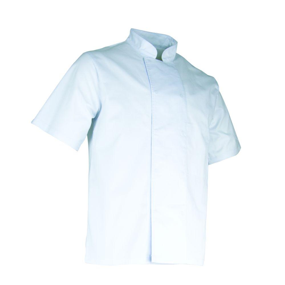 Veste de cuisine manches courtes LMA AUBERGINE - Blanc