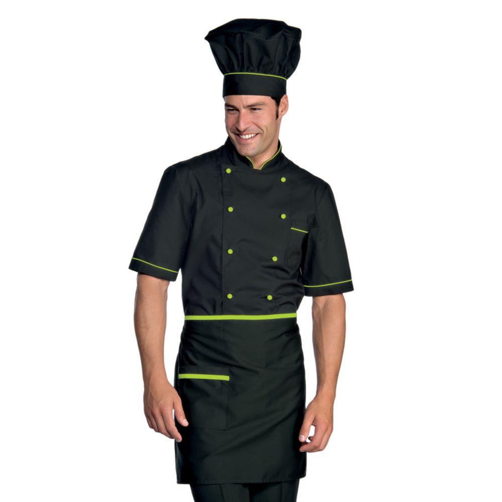 Veste de cuisine manches courtes noir motifs verts Isacco Cuoco Extra Light - Noir / Vert