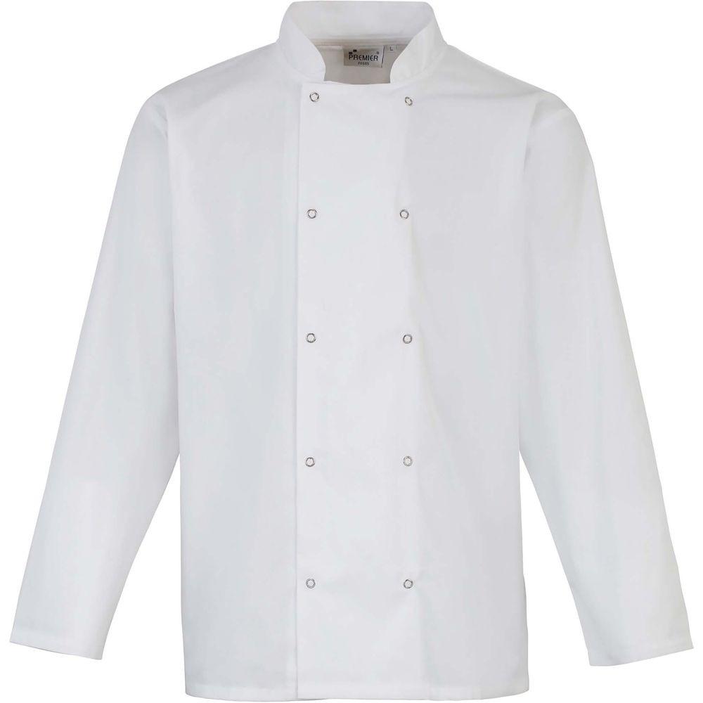 Veste de cuisine Premier manches longues à boutons pression Polycoton -  Veste de cuisine manches longues à boutons pression Unisexe blanc