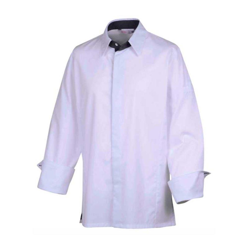 Veste de cuisine stretch col chemise Robur TEMI - Blanc / Gris