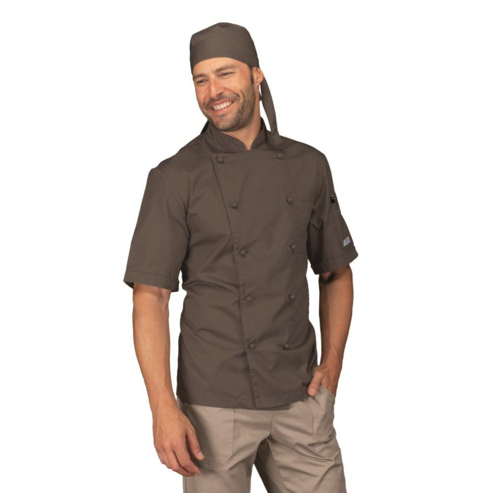 Veste de cuisine Marron Fango Isacco Cuoco manches courtes - Marron