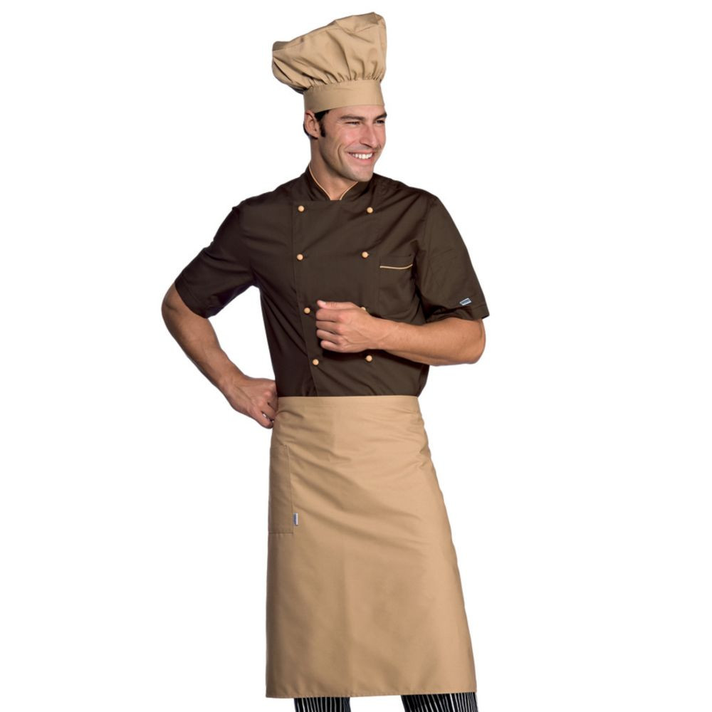 Veste de cuisine marron contrastée Isacco manches courtes Alicante Extra Light - Marron