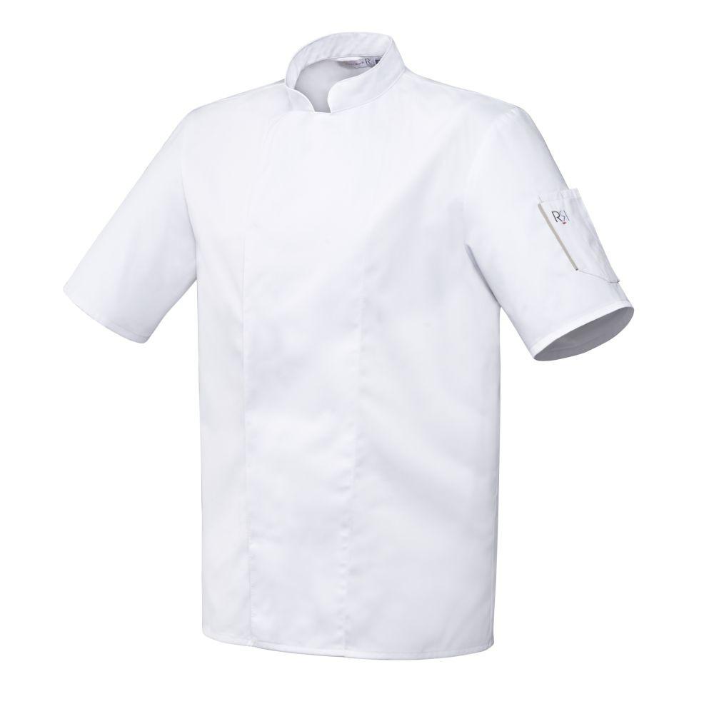 Veste de cuisine mixte manches courtes Robur Nero - Blanc