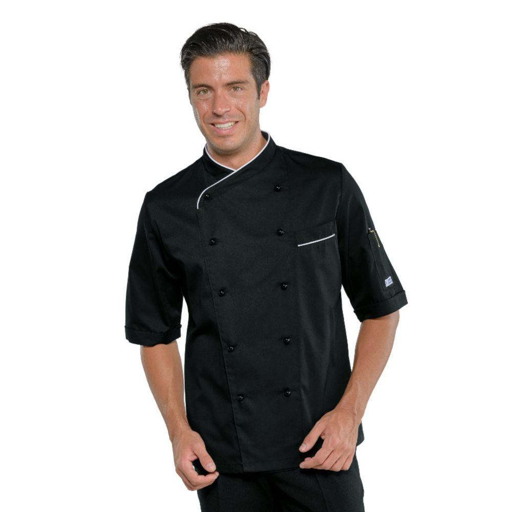Veste de cuisine noir liseré blanc Isacco Panama Slim manches courtes - Noir / Blanc