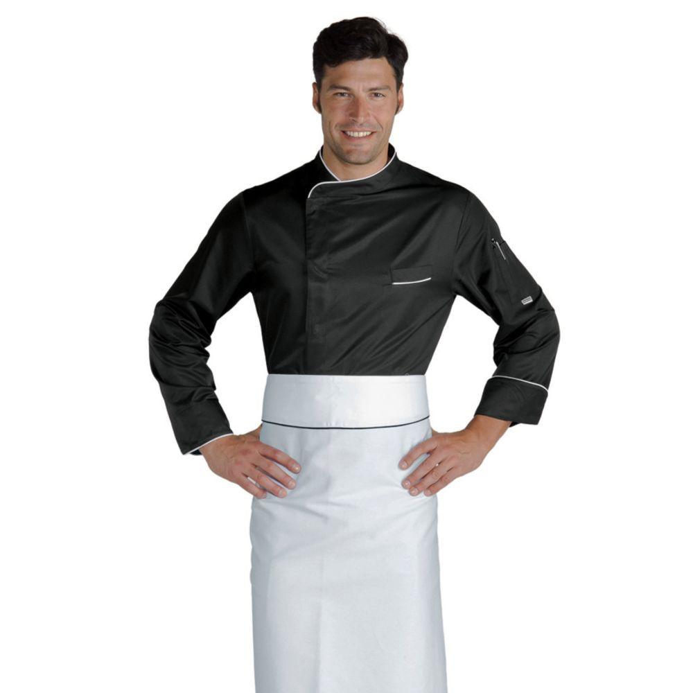 Veste de cuisine Super Dry Noire et détails blancs Isacco Bilbao - Noir / Blanc