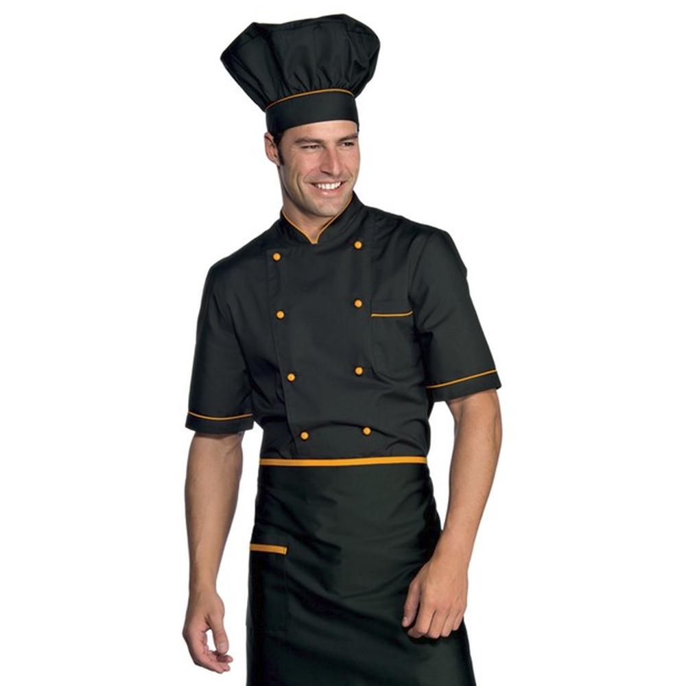 Veste de cuisine noir motif orange Cuoco Isacco manches courtes Extra Light - Veste de cuisine noir et orange Cuoco Isacco MC