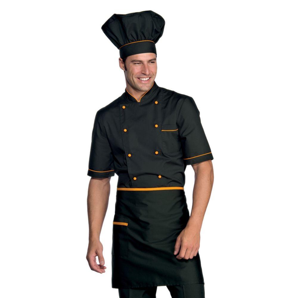 Veste de cuisine noir motif orange Cuoco Isacco manches courtes Extra Light - Noir / Orange