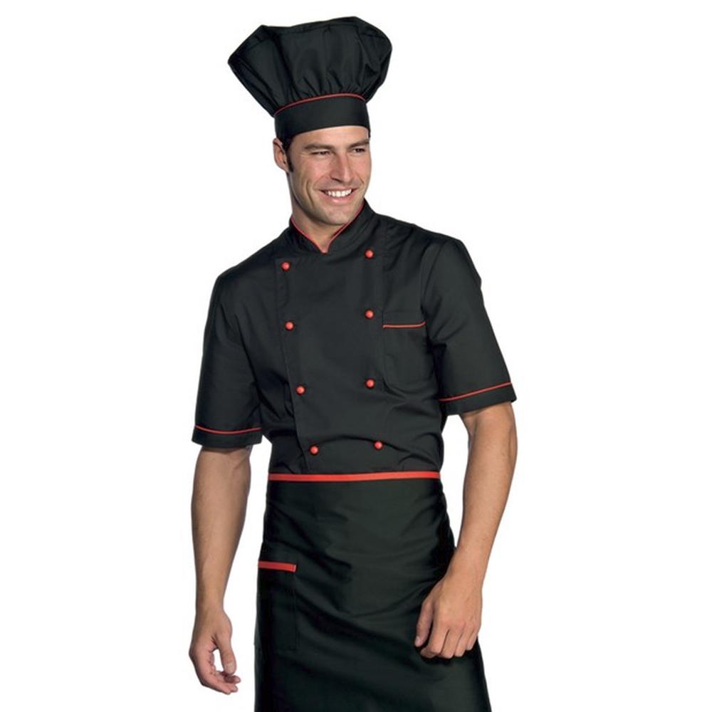 veste de cuisine noir et rouge manches 1 2 isacco. Black Bedroom Furniture Sets. Home Design Ideas
