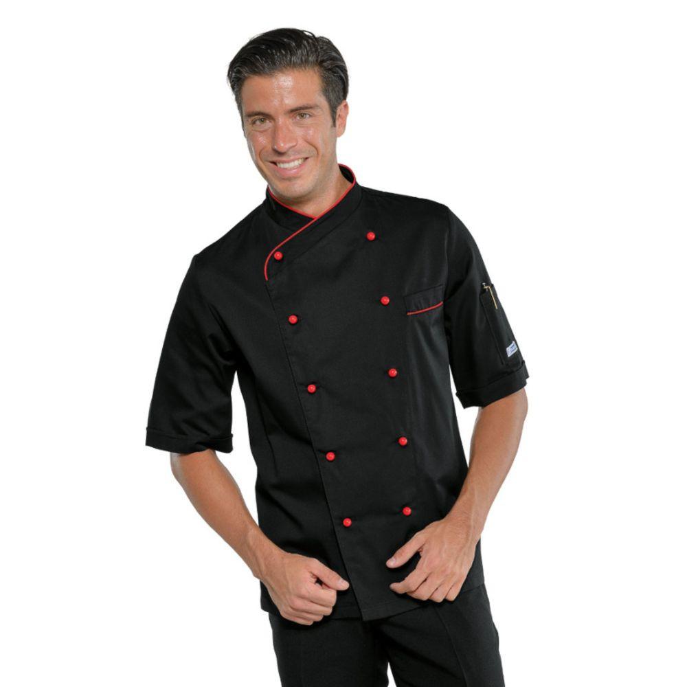 Veste de cuisine noir liseré rouge Isacco Panama manches courtes Slim - Noir / Rouge