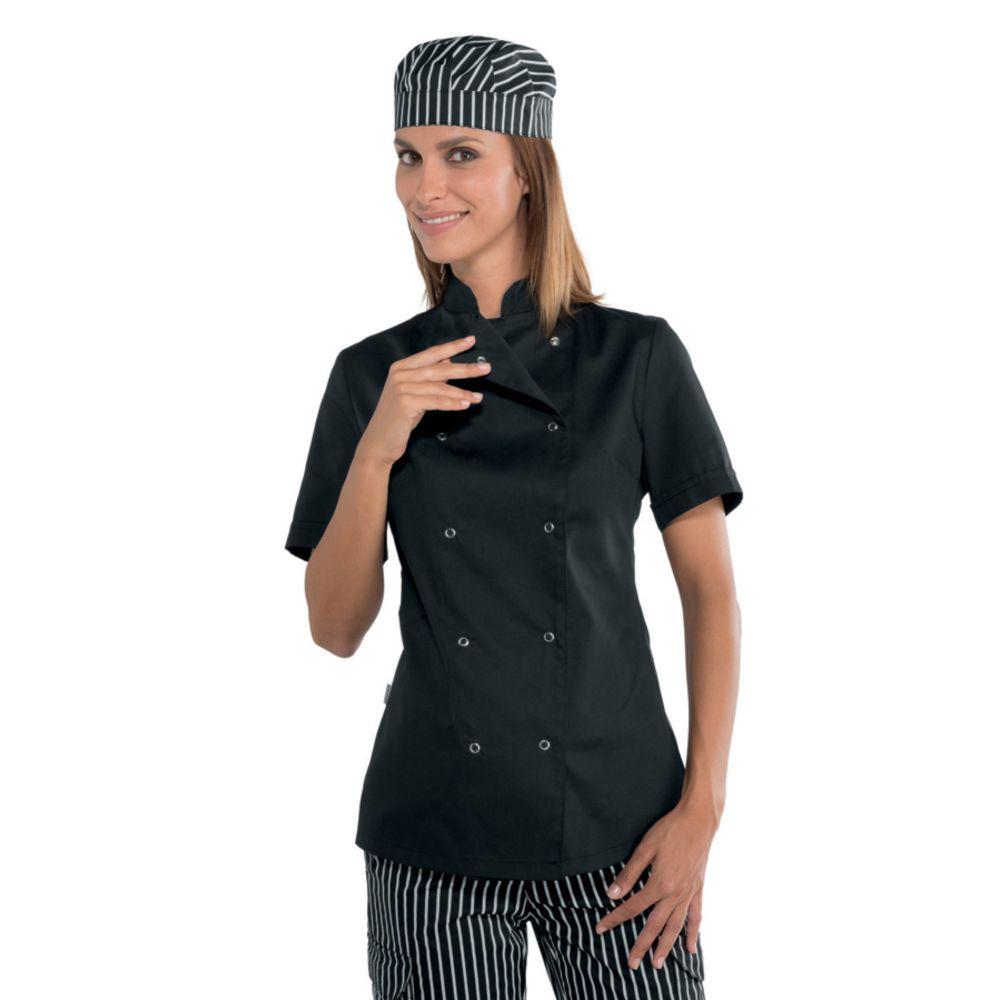 Veste de cuisine noire femme Isacco manches courtes boutons pression - Noir