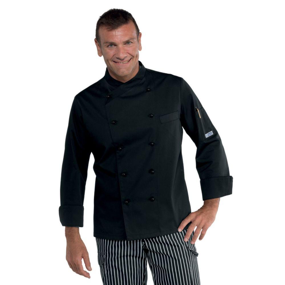 Veste de cuisine Noire Isacco Panama Slim Polycoton - Noir