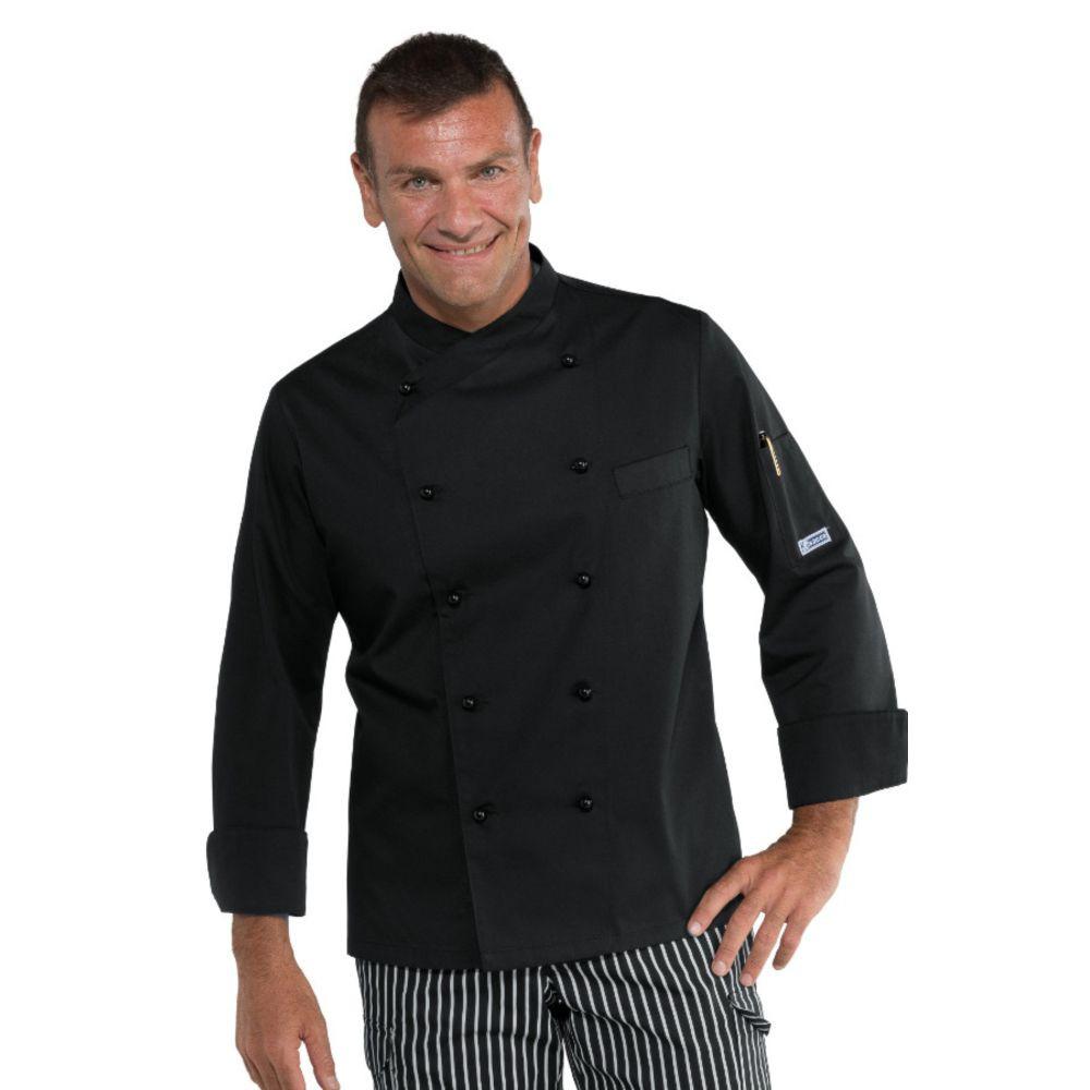Veste de cuisine Noire Isacco Panama Stretch - Noir