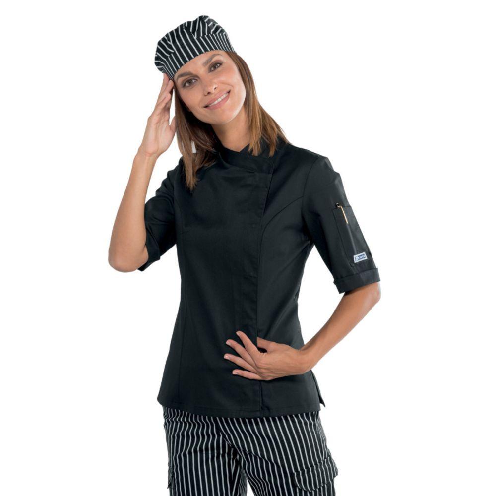 Veste de cuisine noire femme Isacco manches courtes Lady Snaps - Noir