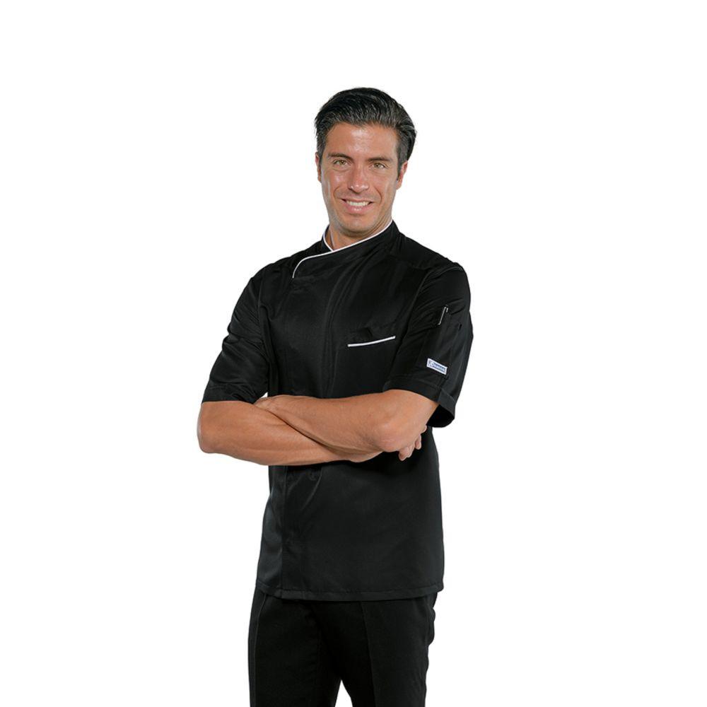Veste de cuisine noire liseré blanc Isacco Bilbao Super Dry manches courtes - Noir / Blanc