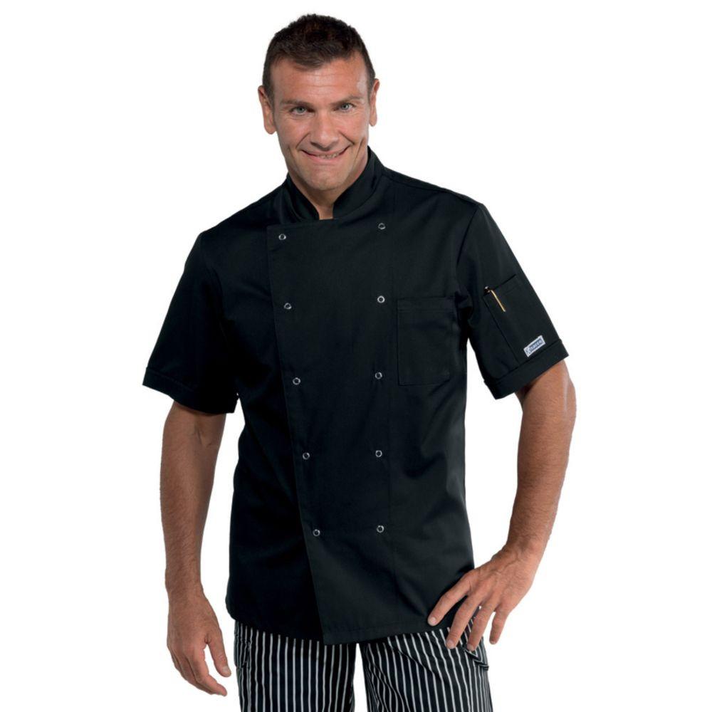 Veste de cuisine noire Isacco Cuoco manche courtes - Noir