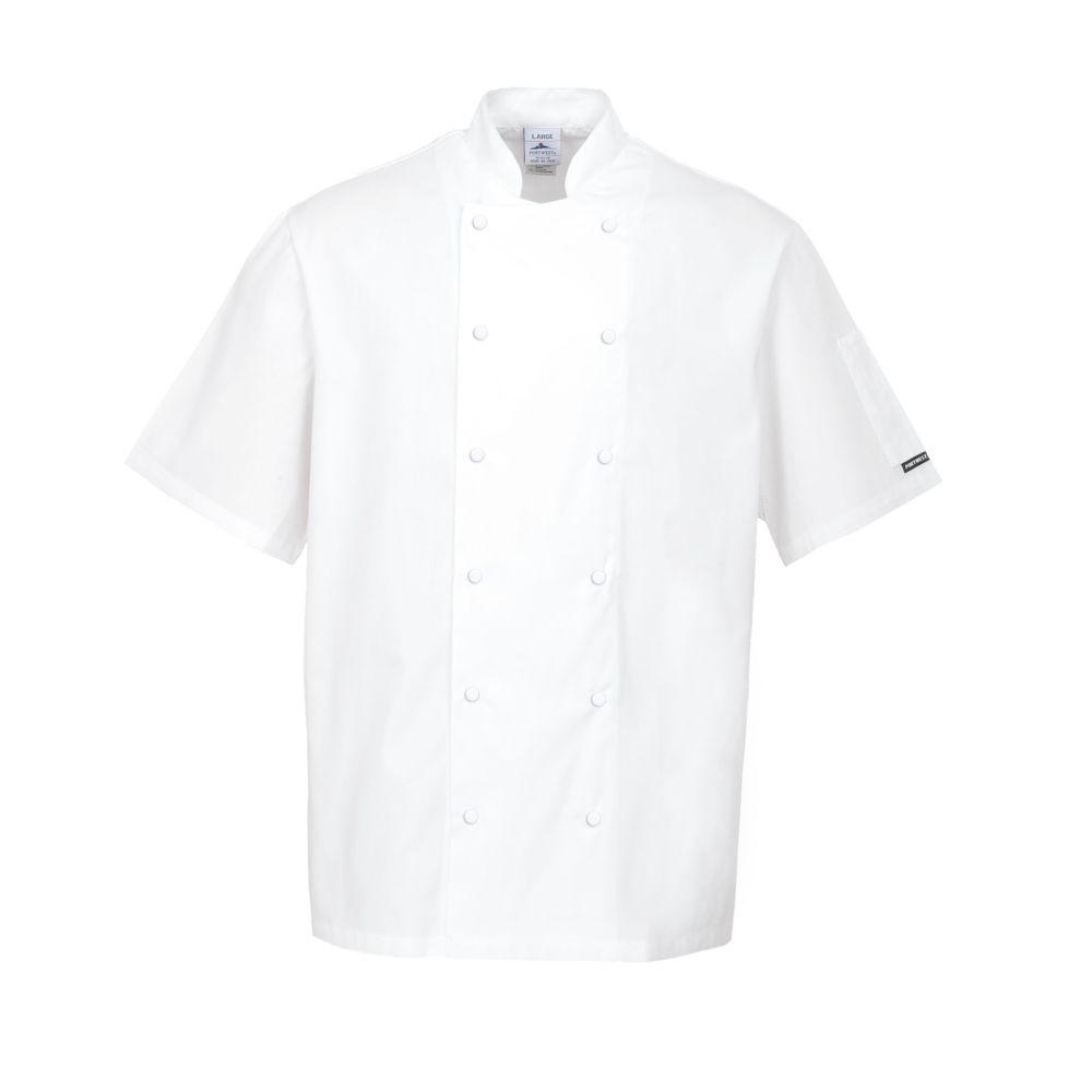 Veste de cuisine Portwest ABERDEEN 100% coton - Blanc