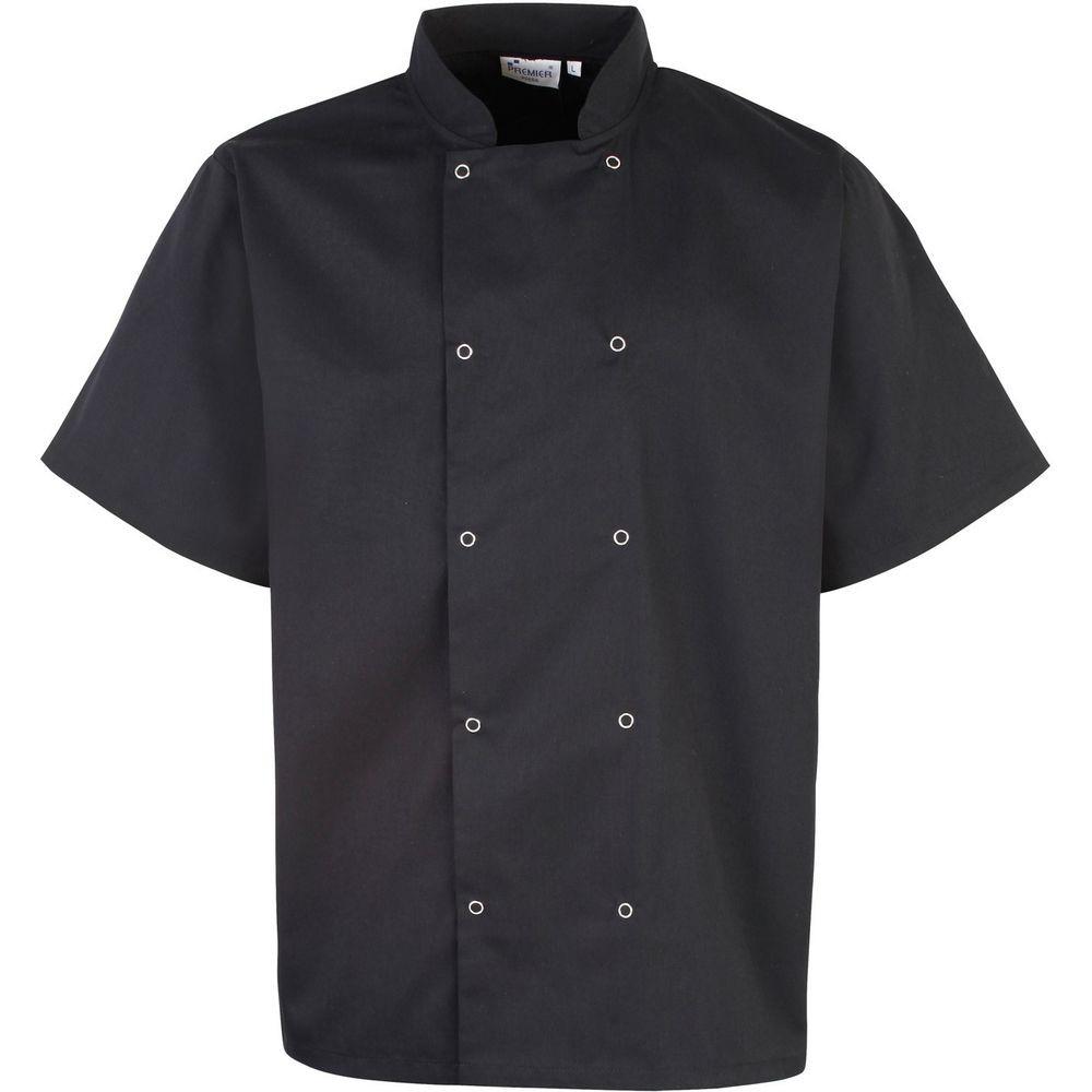 Veste de cuisine studded manches courtes for Veste de cuisine manche courte