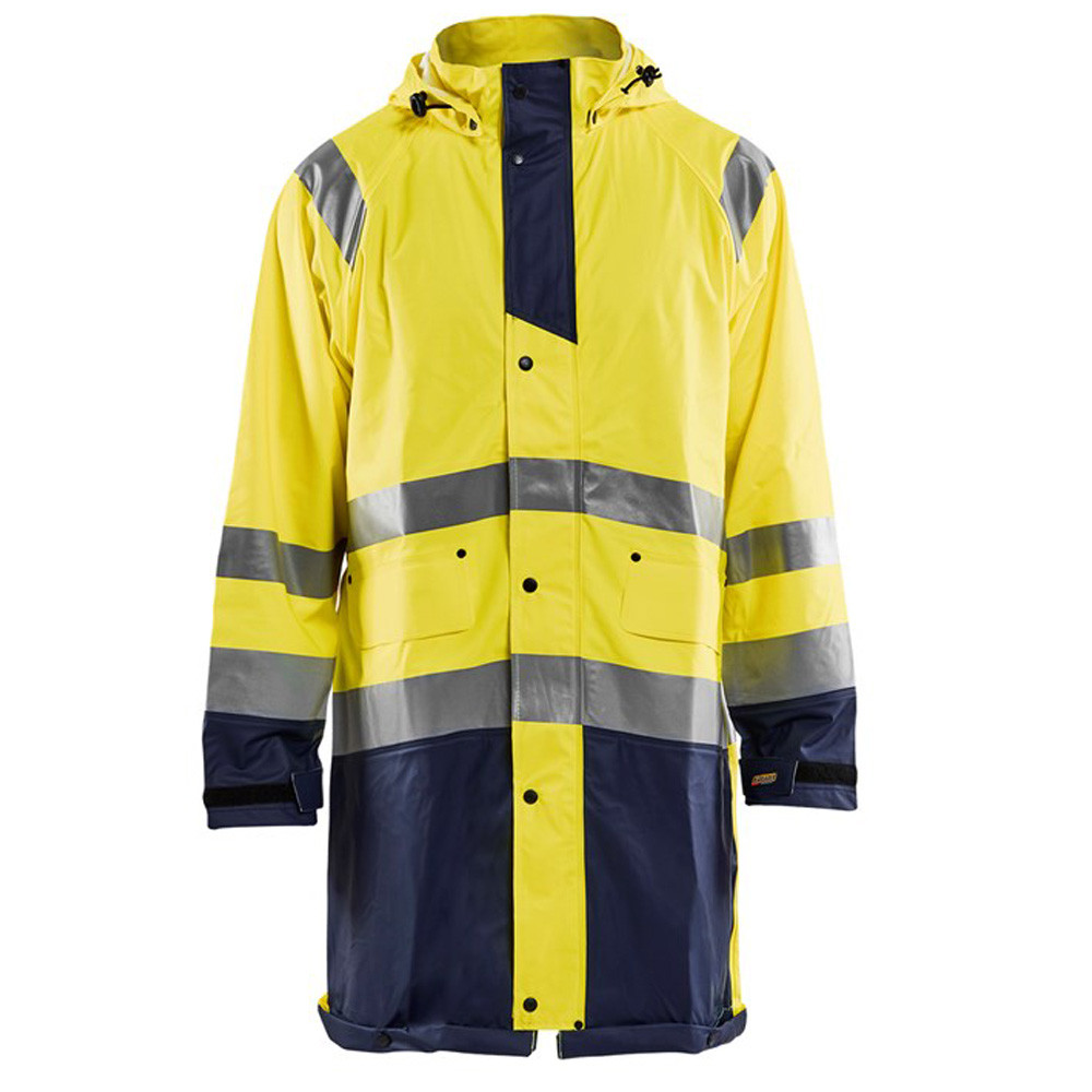 Manteau de pluie imperméable Blaklader haute visibilité - Jaune / marine