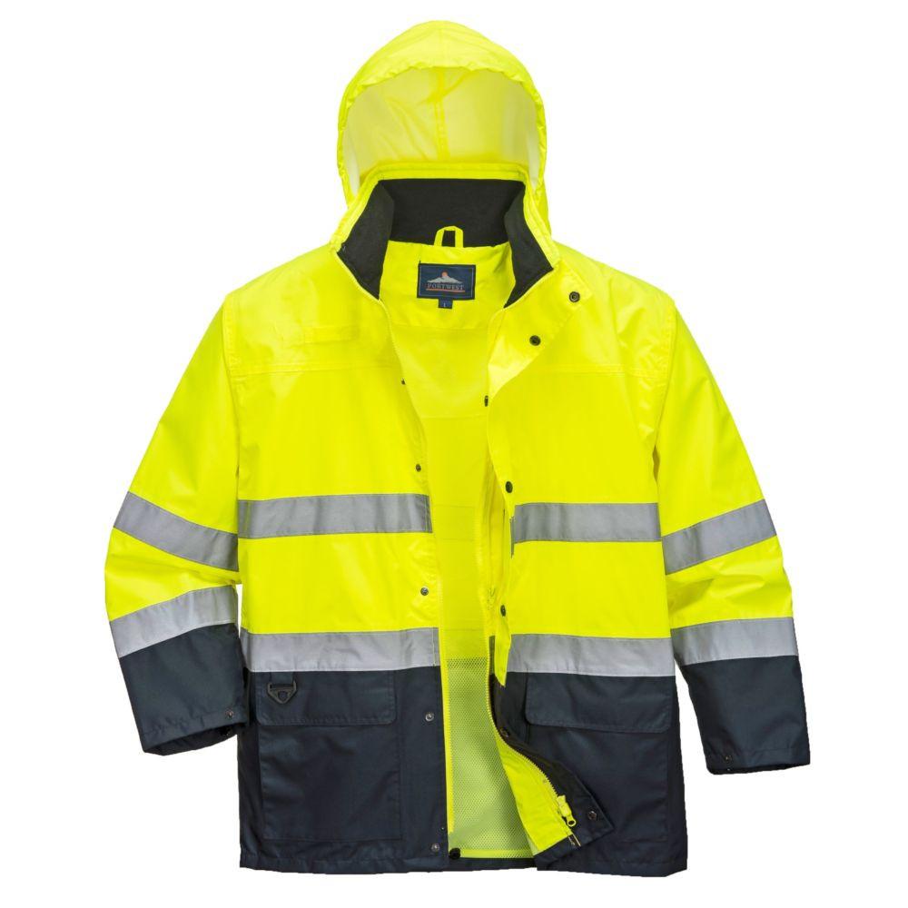 Veste de pluie haute visibilité Portwest bicolore - Jaune / Marine