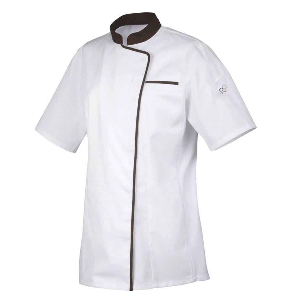 Veste de cuisine manches courtes Femme Robur EXPRESSION - Blanc / Noir