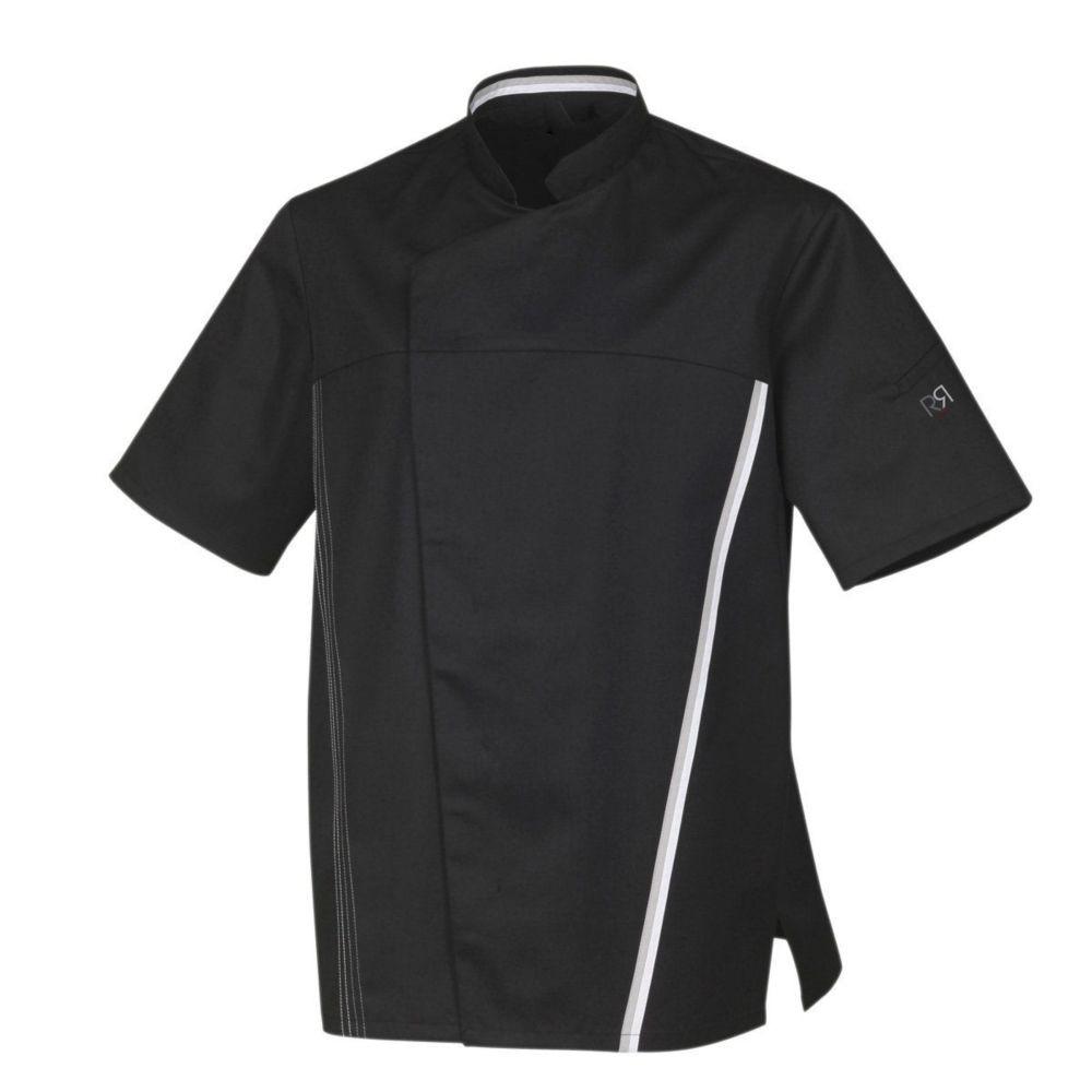 Veste de cuisine manches courtes Robur TRED - Noir / Blanc