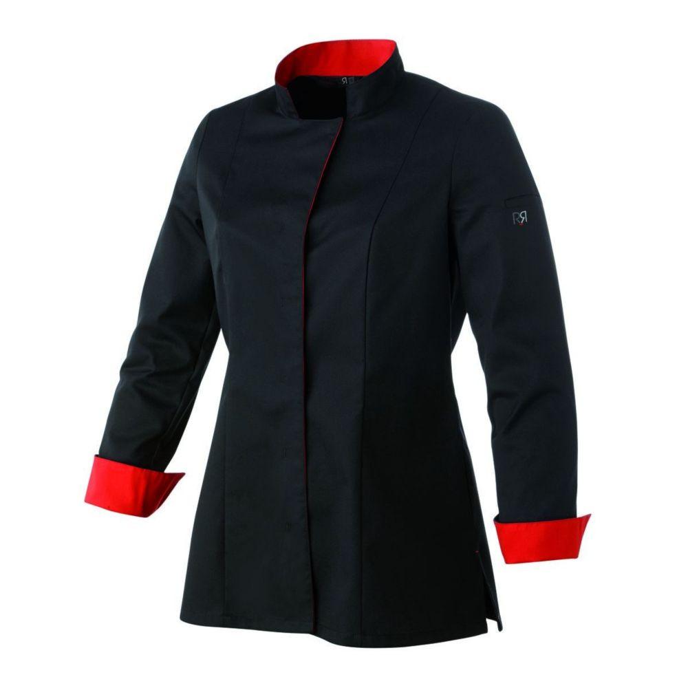 Veste de cuisine manches longues femme Robur UNA - Noir / Rouge