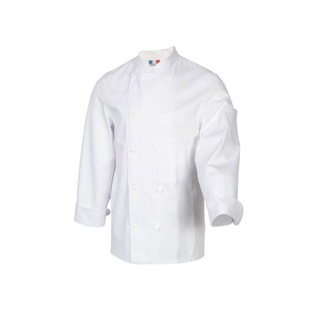 Veste de cuisine manches longues 100% coton Robur TAMISE - Blanc