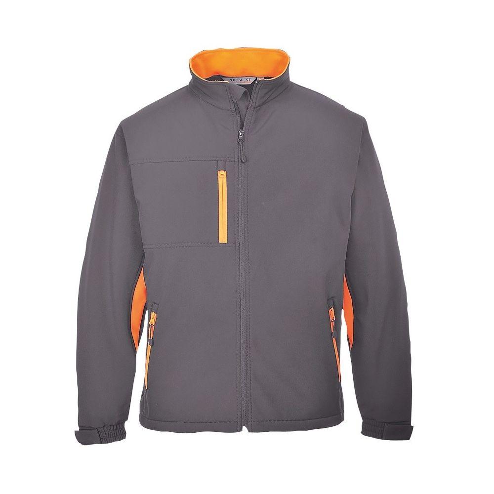Veste Softshell Portwest Texo 3 couches - Gris poches oranges