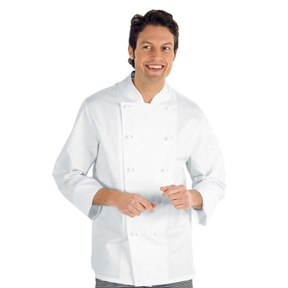 Veste de cuisine homme manches longues Isacco Enrica - Blanc