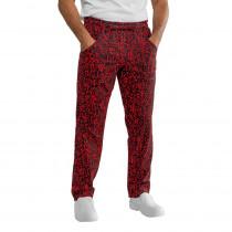 Pantalon de cuisine japonais Isacco Sushi noir et rouge Unisexe