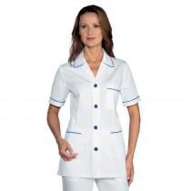 Blouse médicale femme blanche motifs bleus Isacco Ginevra
